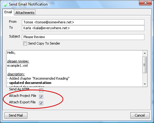 Attach Project or Export File.