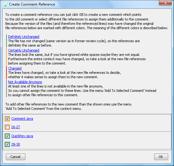 Comment Reference Dialog