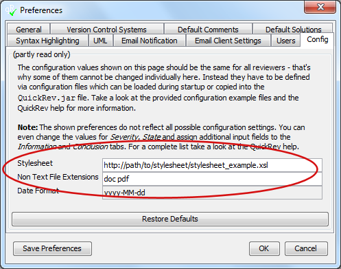 Preferences dialog with configurable stylesheet and non-text file extensions