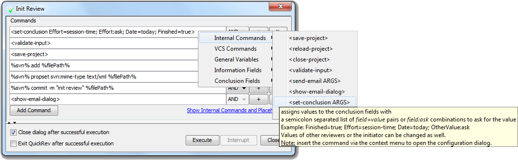 Tool With Set-Conclusion ARGS